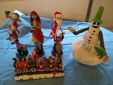 Set of 5 Disney Nightmare Before Christmas Animated Snowman, Statues and Train