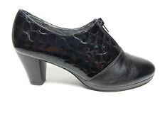 Piel Negro Cuero Zapatos Taco Medio UK 6 EU 39 condición de súper