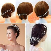 6Pcs Wedding Bridal Pearl Flower Rhinestone Crystal Hair Clip Pins Bridesmaid