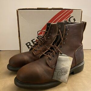 """Red Wing Distressed Chore Steel Toe 8"""" Boots Size 13 B Brown Leather Work Boots"""