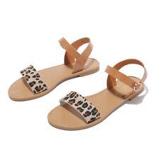 Womens Leopard print Ankle Strap Sandals Ladies Summer Beach Open Toe Flat Shoes