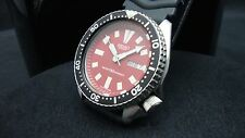 Vintage Seiko divers watch 6309 Auto DAY Date Mod RED DIAL BLACK BEZEL K31.
