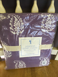 Pottery Barn Kids Julianna Paisley Embroidered Purple Duvet Cover NEW SOLD OUT
