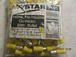 T191 x 100  Pre Insulated Yellow Connector 5mm Bullet  Terminal