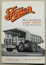 Foden 20 ½ cu yd Capacity Dump Truck Commercial Sales Brochure Jan 1970 #84/1/70