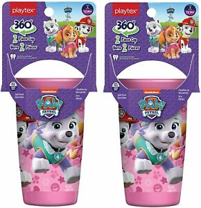 Playtex 360 Degree Spoutless Cup, Paw Patrol, Pink, Stage 2, 12M+ 10 oz (2 Pack)