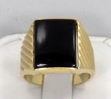 Men's 14k Solid Yellow Gold Onyx Wide Ribbed Band Ring ~ Size 8 3/4 ~ 7 Grams