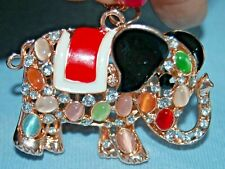 Gorgeous Rhinestone Elephant Pendent Necklace Fashion Jewelry Cats Eye Pachyderm