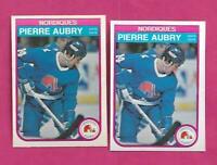 2 X 1982-83 OPC # 277 NORDIQUES PIERRE AUBRY  ROOKIE NRMT-MT CARD (INV# C2389)