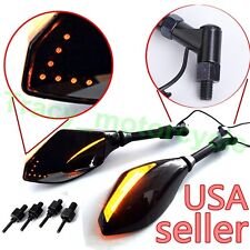 UNIVERSAL MOTORCYCLE AMBER ARROW LED TURN SIGNALS REARVIEW SIDE MIRRORS 8MM 10MM