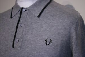 Fred Perry Bold Tipped Knitted Polo Shirt - M - Steel Marl - 80s Casuals - Top
