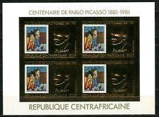 Centre Africaine 1981 PICASSO paint tableau Gold Foil Or Michel 748 B cote 100