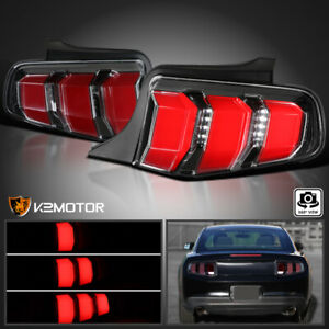 Fits 2010-2012 Ford Mustang Jet Black LED Tail Lights Sequential Signal Lamps