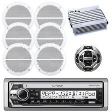 "DIN Marine USB CD Bluetooth Receiver, 6x 6.5"" Speakers, Amplifier, Remote"