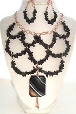 BLACK ONYX NUGGET CHIP STRIPED AGATE PENDANT CASCADING COPPER CHAIN NECKLACE SET