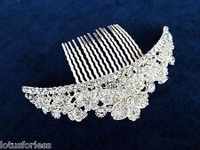 Beautiful Crystal Flower Hair Comb Slide Fascinator Hair Jewellery Bridal Prom