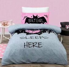 BATGIRL SLEEPS HERE PINK QUEEN  bed QUILT DOONA DUVET COVER SET NEW