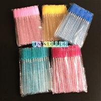 New 50pcs Crystal Shiny Disposable Mascara Wands Eyelash Eyebrow Brushes Spooly