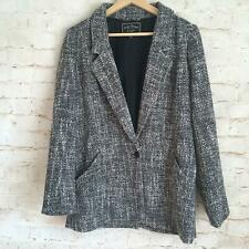 Lucky Brand Women's Small Black White Tweed Career Blazer Jacket