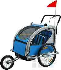 Skiiddii Blue Bike Bicycle TRAILER Children Stroller with Suspension Blue Color