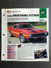 "1967 - 1970 Ford Mustang GT500 IMP ""Hot Cars"" Spec Sheet Folder Brochure L@@K"