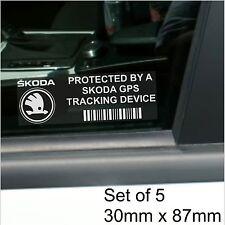 5 x Skoda GPS Tracking Device Security Stickers-Fabia,Octavia-Car Alarm Tracker