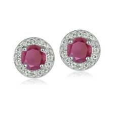 Sterling Silver 1.35ct Ruby & White Topaz 5mm Halo Stud Earrings