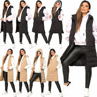 Womens Hooded Quilted Zip Up Gilet Waistcoat Padded Winter Vest Long Bodywarmer
