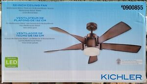 "Kichler 52"" Satin Bronze Led Indoor Ceiling Fan With Light & Remote *NEW IN BOX*"