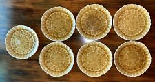 7 Pottery Barn Gold Crackled Majolica Pottery Coasters Small Snack Dishes Japan