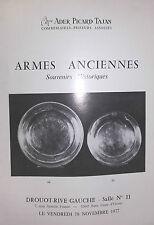 1977 Catalogue de Vente Drouot ARMES ANCIENNES SOUVENIRS HISTORIQUES