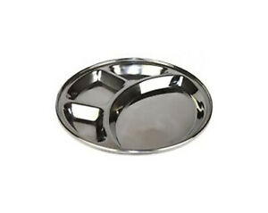 4 Compartment Round Thali food serving steel thali Masala Dosa Wada Pav Tray
