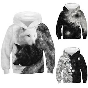 Kids Boys Girls 3D Wolf Lion Hooded Hoddie Sweatshirt Jumper Pullover Top 5