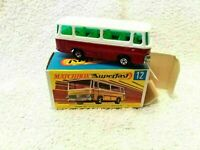MATCHBOX DIECAST  MODEL NO 12 SINGLE DECK BUS RED SETRA COACH GREEN SUPERFAST