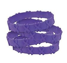 24 Cancer Awareness Purple Ribbon POP OUT Bracelets Pancreatic Cancer, Relay