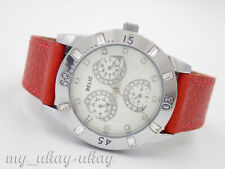 RELIC by Fossil ZR15522 Crystal Multifunction Red Leather Band Ladies Watch