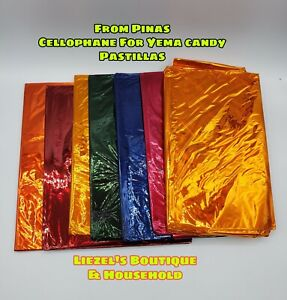 Cellophane For Yema,tarts & Other Philippines Sweets 5 pcs assorted colors