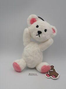 "Control Bear B2805 White Furyu Strap Mascot Plush 6"" TAG Toy Doll Japan"