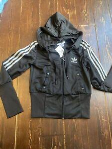 Adidas Originals D Sleek Zip Hoodie Track Top Jacket Size 12 Medium Superstar