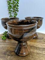 Vtg Set (3) Old Ballarat Pottery Brown Glaze Goblets Tea Light Holder Australia