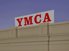 Horitzontal Ymca Animated Sign For O-Scale- Lights, Blinks & More! Great! Save!