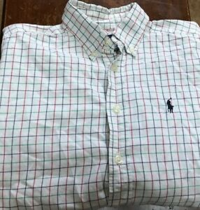 boy's Ralph Lauren Polo L/S button shirt size youth M white, blue, red, green