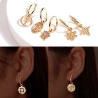 Boho Style Women 18K Gold Filled Hoop Earrings Cartilage Ear Studs Dangle Drop