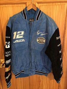 NASCAR Racing Large Mens Ryan Newman Suede Wilsons Leather Coat Jacket (NJ-283)