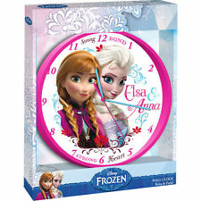 Disney Eiskönigin Wanduhr Kinderzimmer Zimmeruhr Frozen 24 cm Elsa Anna weiß