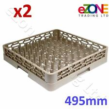 2x Commercial Kitchen Dishwasher Rack Basket Tray Plate Glass Pot Pegged 495mm
