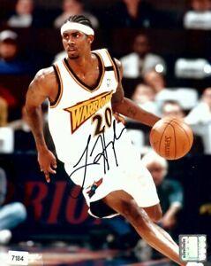 Larry Hughes Autographed 8X10 Photo Warriors Home Dribbling w/COA