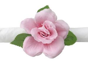 Fennco Styles Handmade Pink Rose Decorative Napkin Holders, Set of 4