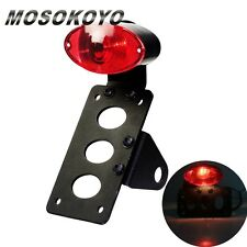 Black Motorcycle License Plate Tail Light + Side Mount Bracket Custom Chopper