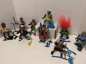 Vintage TMNT Figure and Accessories Lot - 90's Ninja Turtles Some Complete